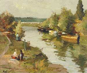 Marcel Dyf - River at Amoureux, (1955)
