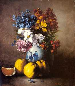 Germain Ribot - A Still Life with a Vase ..