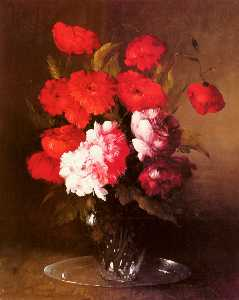 Germain Ribot - Pink Peonies and Poppies ..