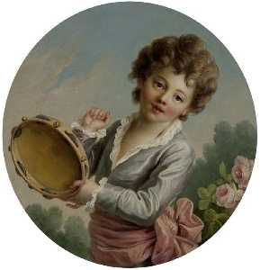 François Hubert Drouais - Child with a Tambourine
