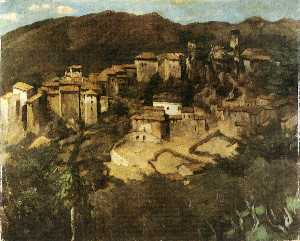 Carl Schuch - View of Olevano