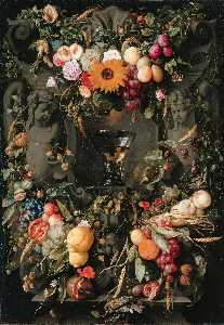 Jan Davidszoon De Heem - Fruits and Flowers with W..