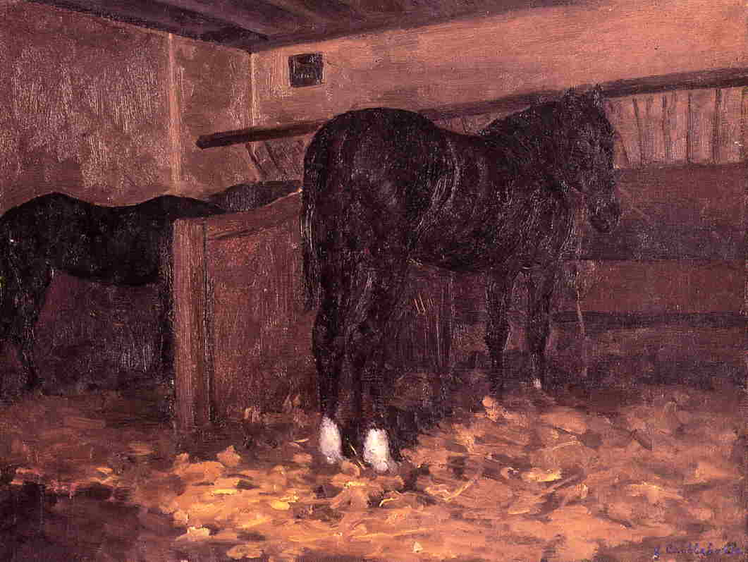 Horses in the Stable, 1874 by Gustave Caillebotte (1848-1894, France) | Paintings Reproductions Gustave Caillebotte | ArtsDot.com