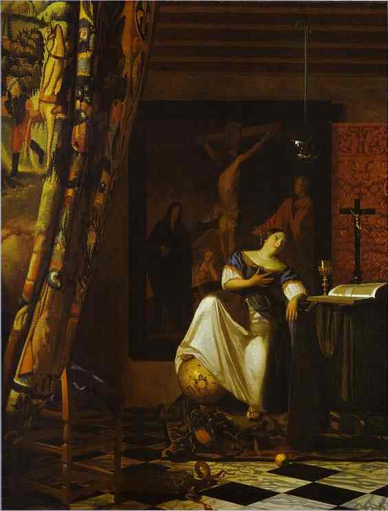Allegory of Faith by Jan Vermeer (1632-1675, Netherlands) | Paintings Reproductions Jan Vermeer | ArtsDot.com