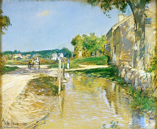 A Country Road by Frederick Childe Hassam (1859-1935, United States) | Oil Painting | ArtsDot.com