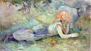 Berthe Morisot - Shepherdess Laying Down 1