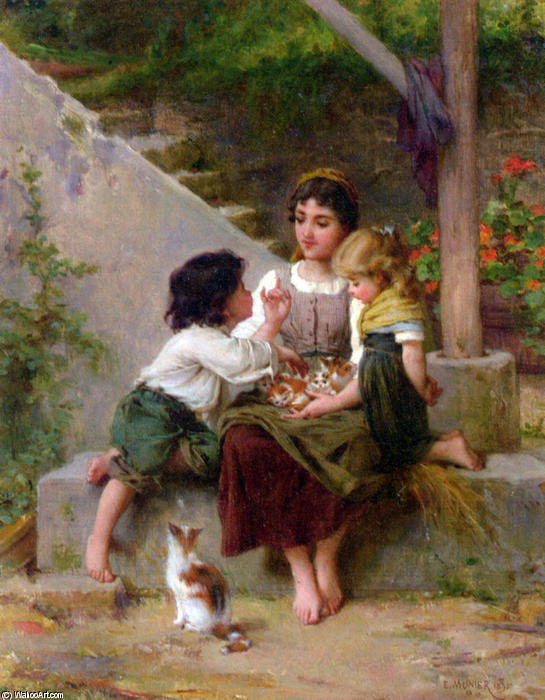 Playing with the Kittens by Emile Munier (1840-1895, France) | Art Reproduction | ArtsDot.com