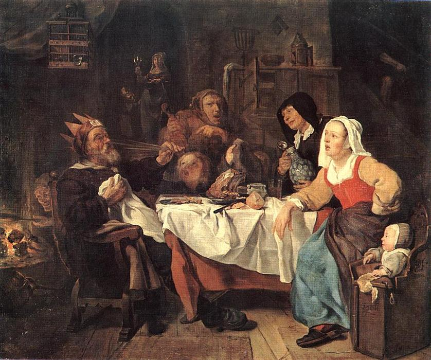 The Feast of the Bean King, 1655 by Gabriel Metsu (1629-1667, Netherlands) | Oil Painting | ArtsDot.com