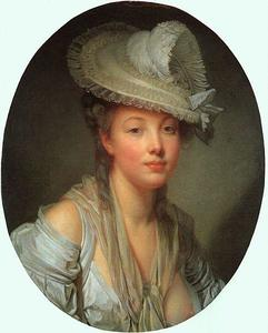 Jean-Baptiste Greuze - Young Woman in a White Ha..