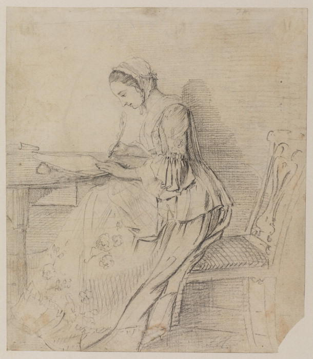 Young lady writing at a table by Paul Sandby (1725-1809, United Kingdom) | Museum Art Reproductions Paul Sandby | ArtsDot.com