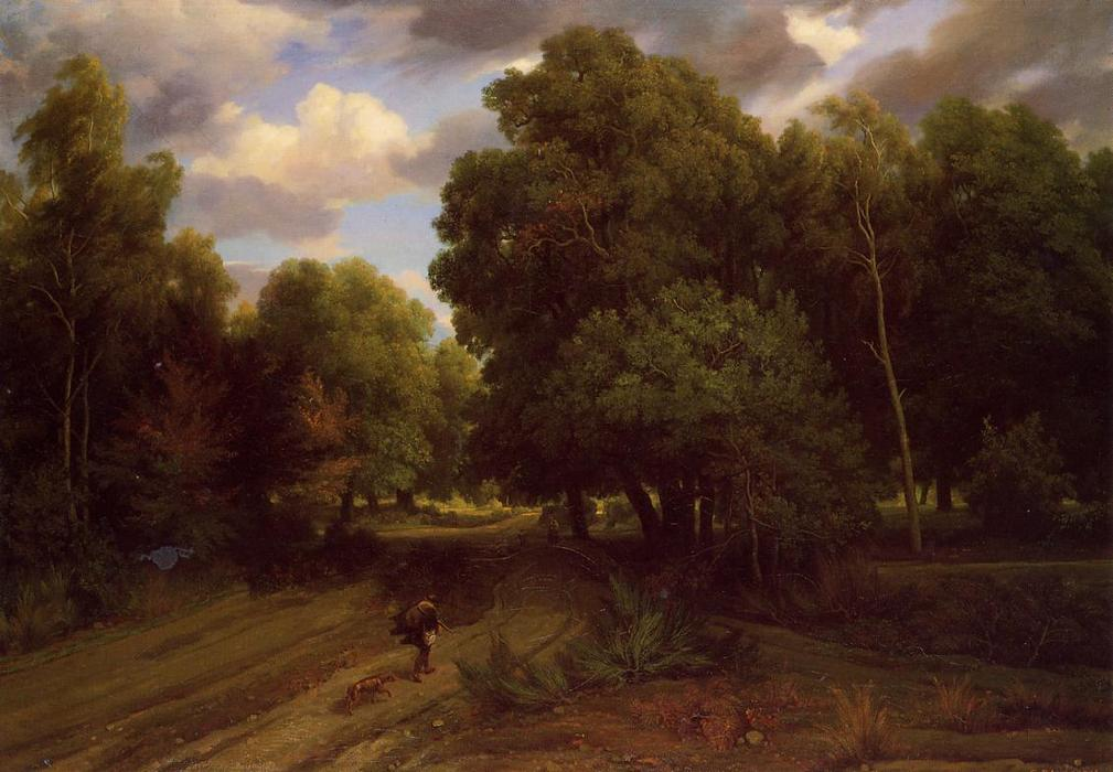 The Crossroads at the Eagle`s Nest, Forest of Fontainebleau, 1844 by Charles François Daubigny (1817-1878, France) | Painting Copy | ArtsDot.com