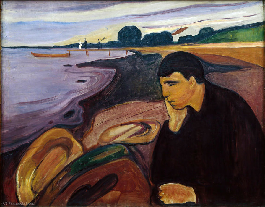 Melancholy, 1894 by Edvard Munch (1863-1944, Sweden) | Museum Art Reproductions | ArtsDot.com