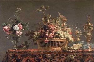 Frans Snyders - Grapes in a basket and ro..