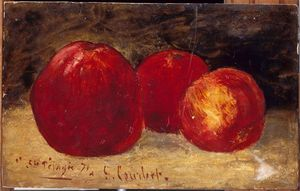 Gustave Courbet - Three Red Apples