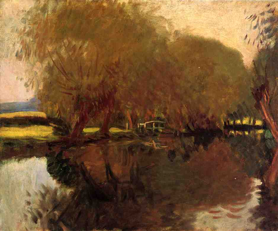 A Backwater at Calcot Near Reading, Oil On Canvas by John Singer Sargent (1856-1925, Italy)