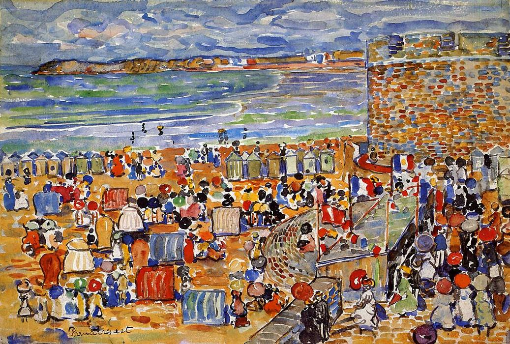 On the Beach, St. Malo, 1907 by Maurice Brazil Prendergast (1858-1924, Canada) | Museum Art Reproductions Maurice Brazil Prendergast | ArtsDot.com
