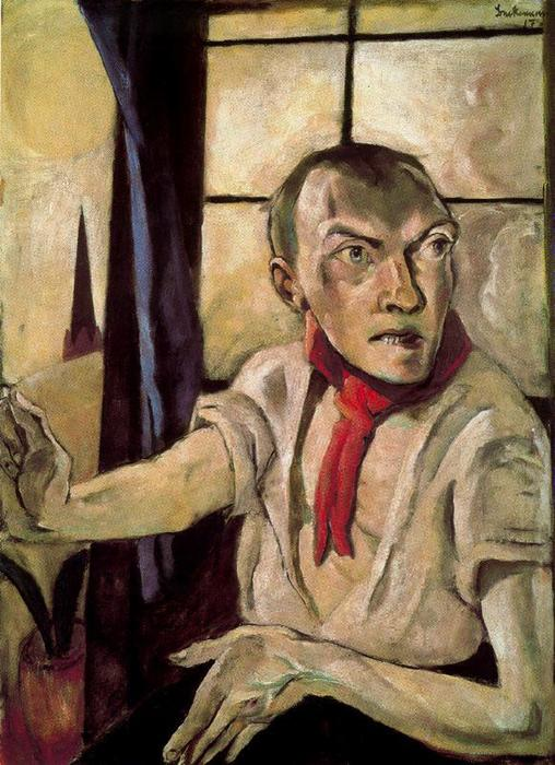 Self-portrait with red scarf, 1917 by Max Beckmann (1884-1950, Germany) |  | ArtsDot.com