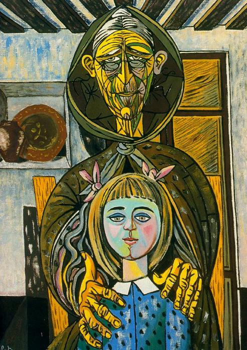The old woman and the girl, 1957 by Rafael Zabaleta Fuentes (1907-1960, Spain) | Art Reproduction | ArtsDot.com