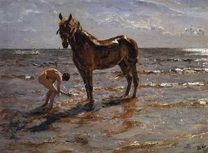 Valentin Alexandrovich Se.. - Bathing a Horse