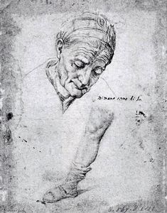 Antonio Campi - Studies of an Old Woman's..