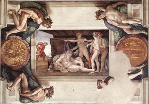 Michelangelo Buonarroti - Drunkenness of Noah (with..
