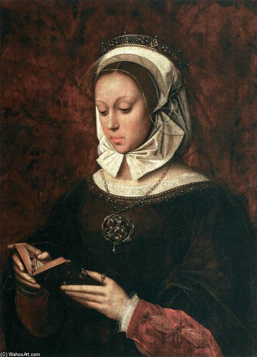 Young Woman in Orison Reading a Book of Hours, 1520 by Ambrosius Benson (1500-1550, Italy) | Reproductions Ambrosius Benson | ArtsDot.com