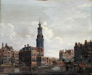 Isaak Ouwater - View of the Singel with t..