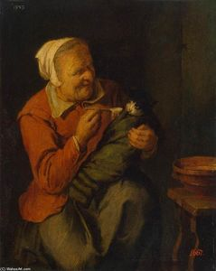 David The Younger Ryckaer.. - Peasant Woman with a Cat