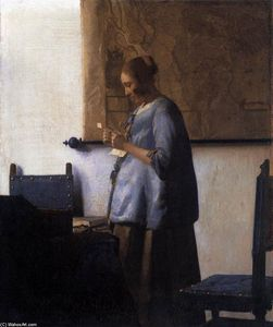 Jan Vermeer - Woman in Blue Reading a L..
