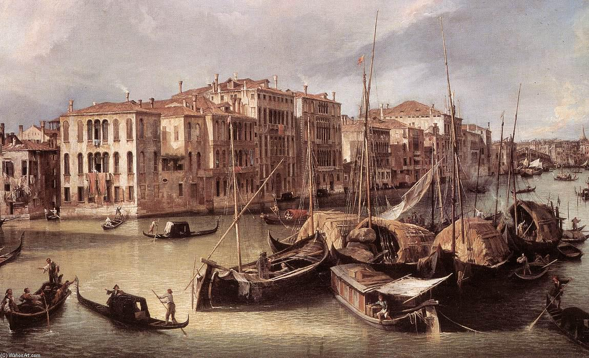 Grand Canal: Looking North-East toward the Rialto Bridge (detail), 1725 by Giovanni Antonio Canal (Canaletto) (1730-1768, Italy) | Paintings Reproductions Giovanni Antonio Canal (Canaletto) | ArtsDot.com