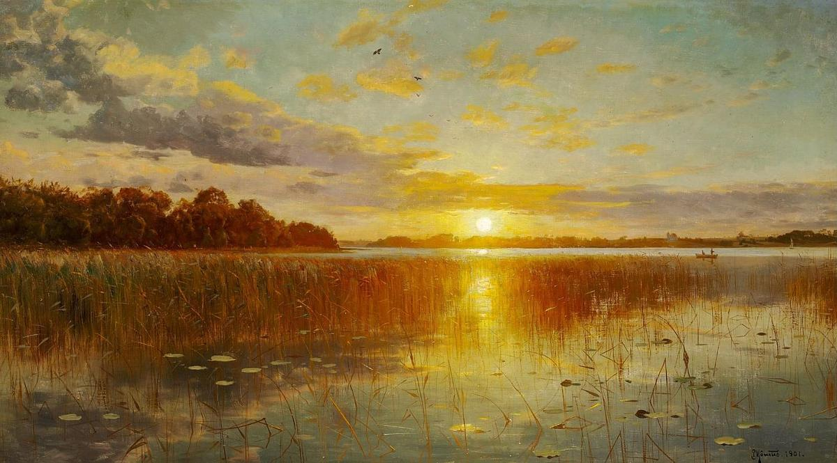 Sunset over a Danish fjord, 1901 by Peder Mork Monsted (1859-1941, Denmark) | Museum Art Reproductions | ArtsDot.com