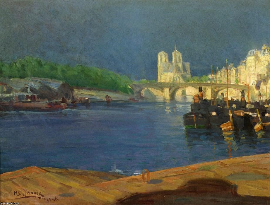 View of the Seine Looking toward Notre Dame, 1896 by Henry Ossawa Tanner (1859-1937, United States) | Oil Painting | ArtsDot.com