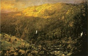 William Louis Sonntag - A Wooded Mountain Landsca..
