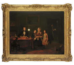 Johannes Rosierse - A Family In A Lamp-lit In..