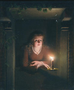Johannes Rosierse - A Young Girl By Candlelig..