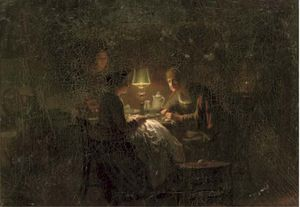 Johannes Rosierse - Sewing By Lamplight