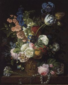 Jean Louis Prevost - A Still Life Of Roses And..