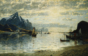 Adelsteen Normann - A Fjord Scene With Sailin..