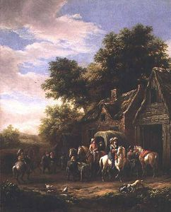 Barend Gael Or Gaal - Landscape With Travellers..