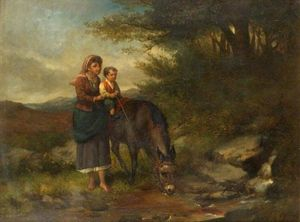 Charles Hunt - Woman Supporting A Boy On..