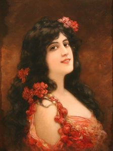 Emile Eisman Semenowsky - Young Girl With Flowers I..