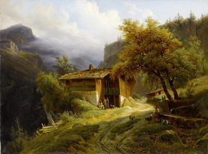 Francois Diday - Mountain Landscape With F..