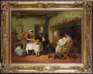 Frederick Daniel Hardy - Christmas Visitors Stirri..