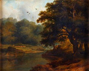 James Arthur O Connor - Landscape With A Stream And Wo..