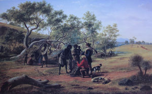 Eugene Von Guerard - Aborigines Met On The Way..
