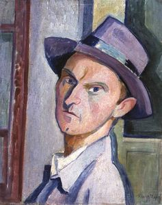 Janos Kmetty - Self-portrait In A Purple..