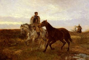 Mihaly Munkacsy - leading the horses home a..