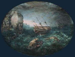 Abraham Willaerts - Shipwreck off a Rocky Coa..