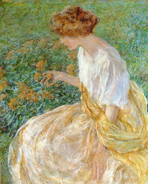 The Yellow Flower aka The Artist-s Wife in the Garden by Robert Lewis Reid (1862-1929, United States) | Oil Painting | ArtsDot.com
