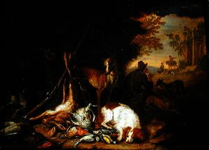 Adriaen De Gryef - A Hunter with his Dogs